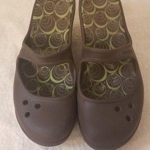crocs Mary Jane Slip On Wedge Sandals 10 EUC